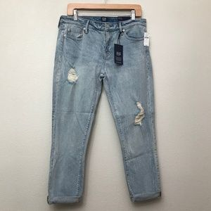 Gap Girlfriend Fit Destructed Denim Jeans